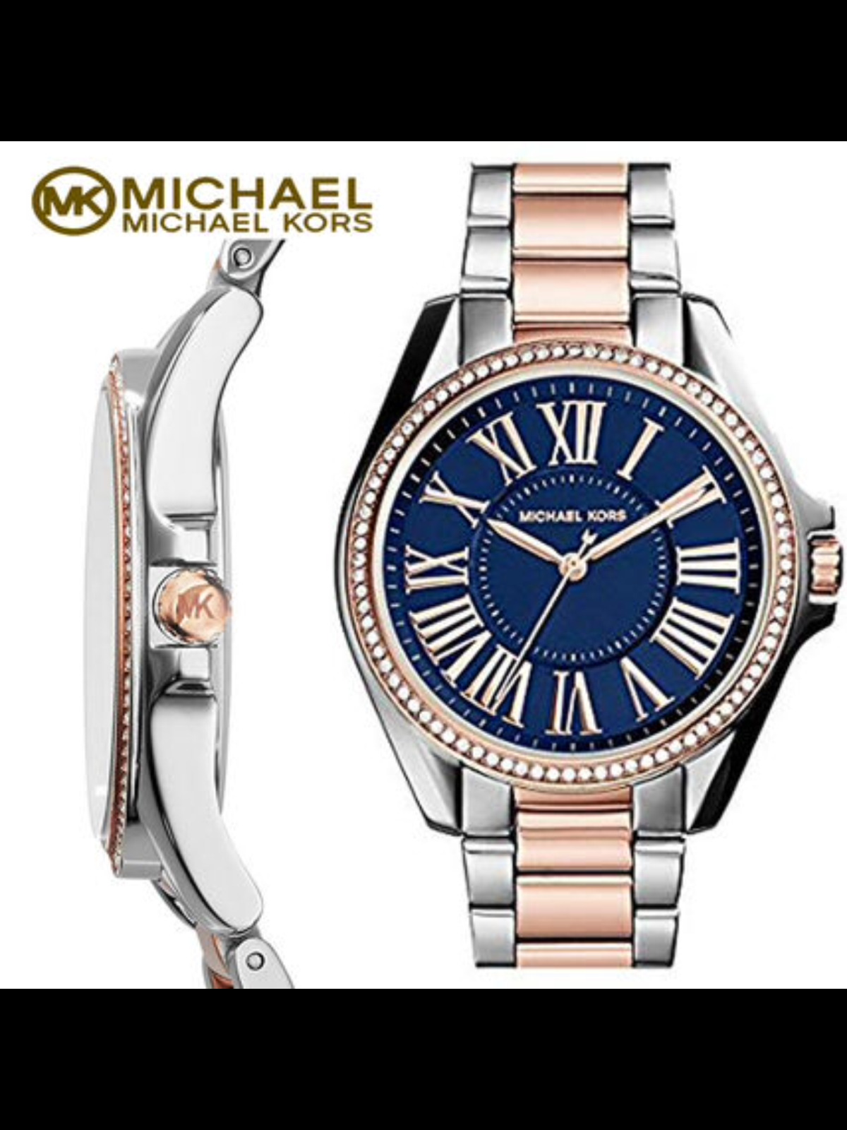 d1841f7a3ac8 UPC 796483163515 product image for Michael Kors Mk6185 Kacie Blue Dial Two  Tone Stainless Steel Women s ...