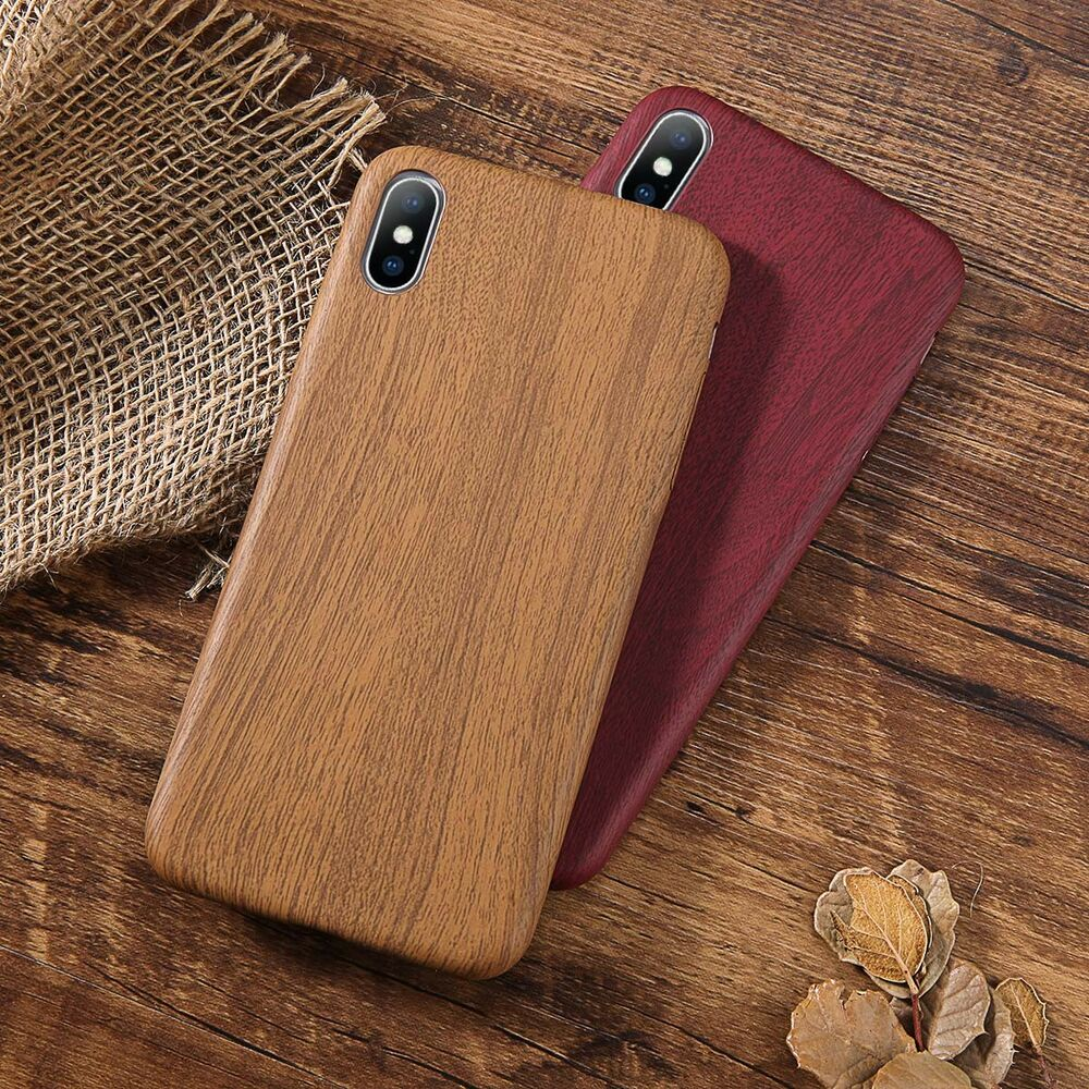 new product 907cc 288b7 Wood Grain Ultra Slim Shockproof Skin Case Cover For iPhone XS Max XR 7  Plus X | eBay