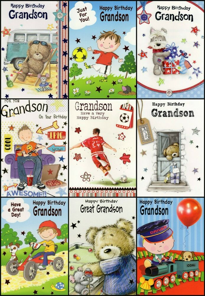 Details About GRANDSON GREAT BIRTHDAY GREETING CARD
