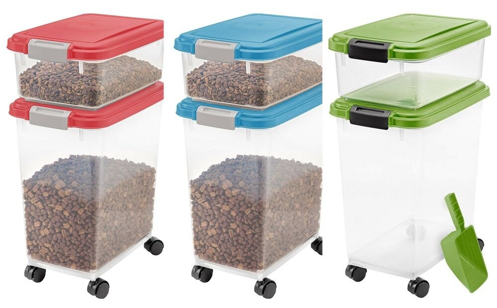 Airtight Pet Food Container Storage Combo Kit Dog Cat Rack