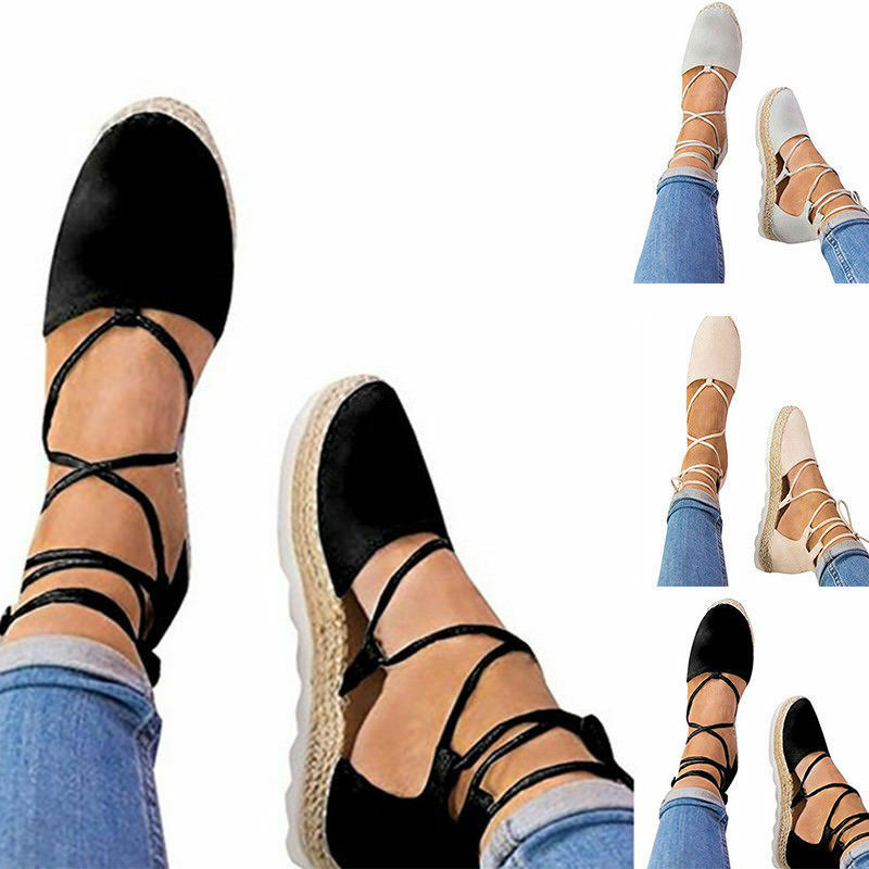 feff899a0 Details about US WOMENS FLAT LOW WEDGE HEELS ESPADRILLES SUMMER Strappy SANDALS  ANKLE LACE-UP