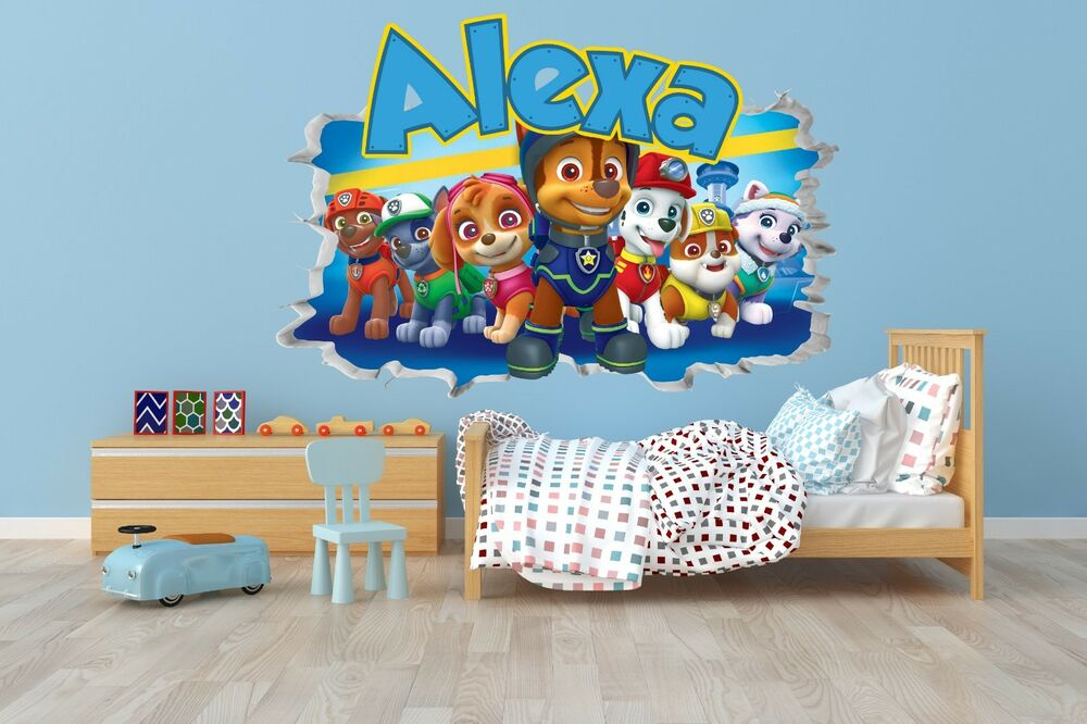 paw patrol wall decal smashed 3d wall decal sticker vinyl decor