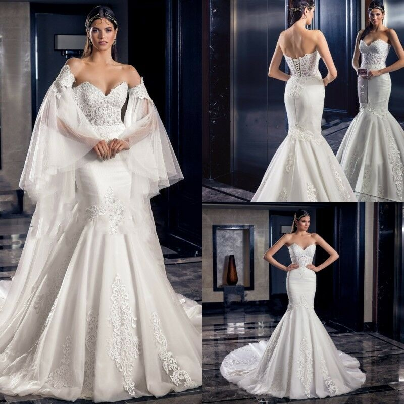 Wedding Dresses Detachable Removable Sleeves Bridal Gowns Trumpet