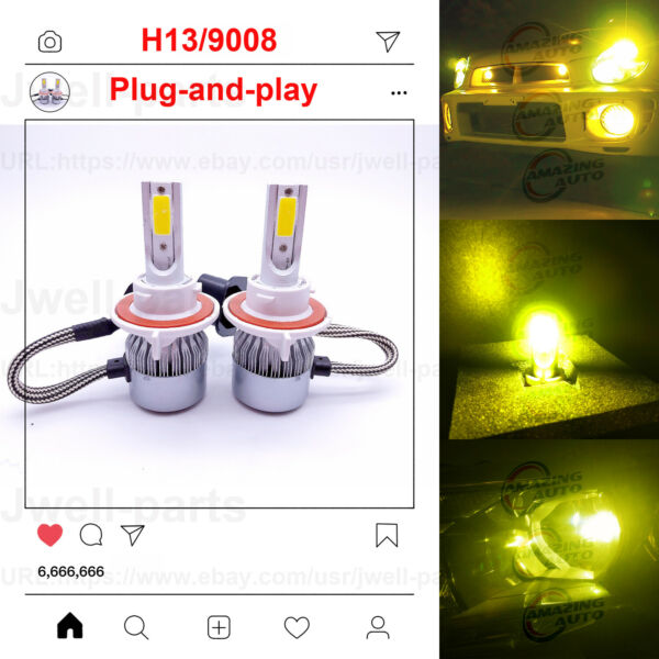 NEW H13 9008 LED Headlight Bulb for Ford F-150 High Low Beam 8000K Ice Blue