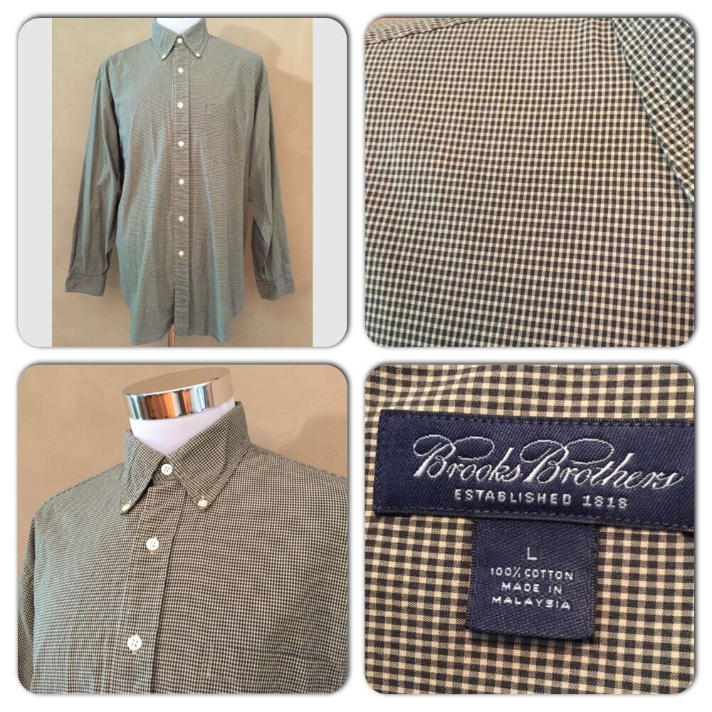 Vgc Brooks Brothers Mens Large Hunter Green Beige Gingham Checked Dress Shirt Ebay
