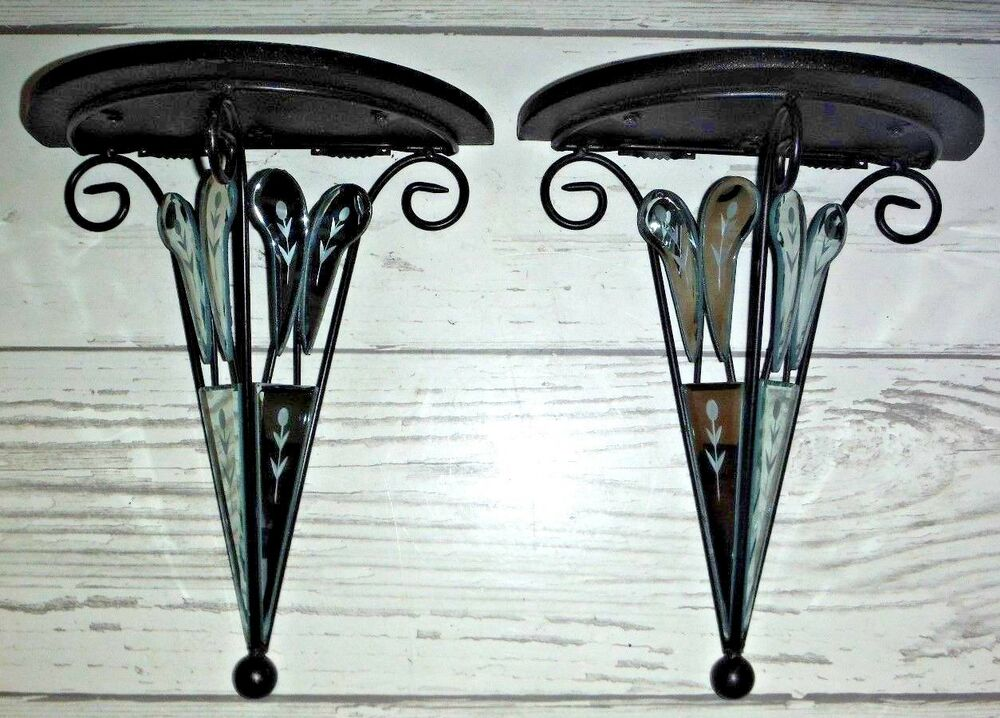 2 Etched Beveled Edge Mirror Wall Shelf Shelves | eBay