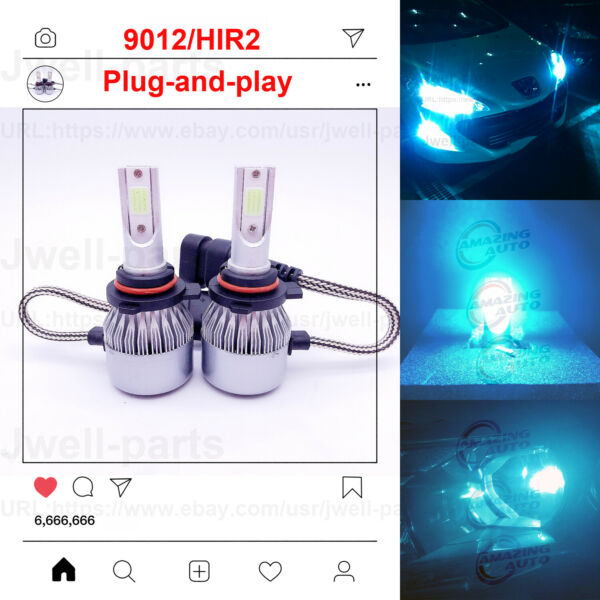 9012 HIR2 LED Headlight Bulbs Replace High Low Beam 55W 8000LM 8000K Ice Blue