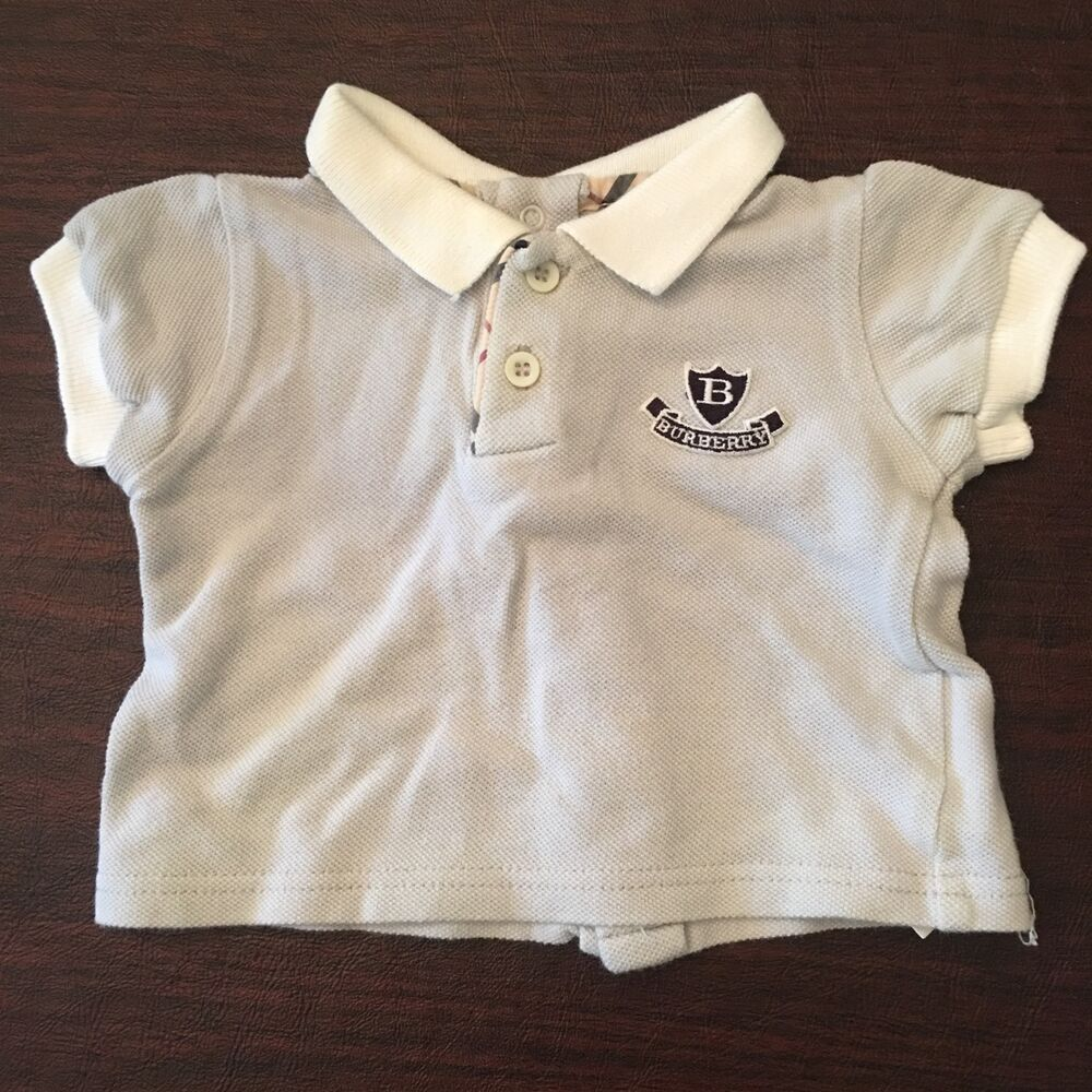 1037aad00 Details about Authentic Burberry Polo Shirt With Logo And Classic Print -  Size 3M Infant