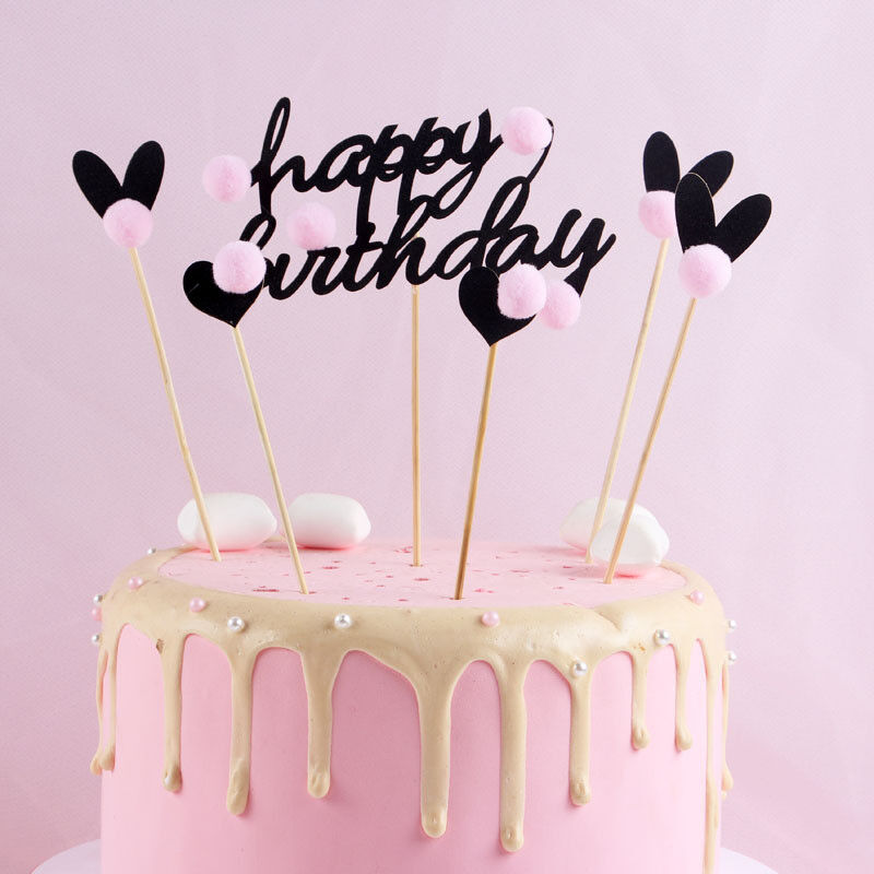 Details About PureArte Happy Birthday Cake Topper For Adults And Kids Party Black Hearts