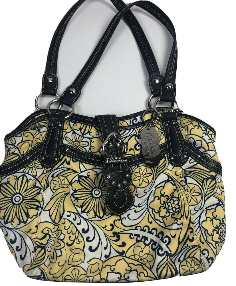 a52aefad24ab Details about Genna De Rossi Multi Spring Color Zippered Pocket Purse  Handbag Tote Yellow