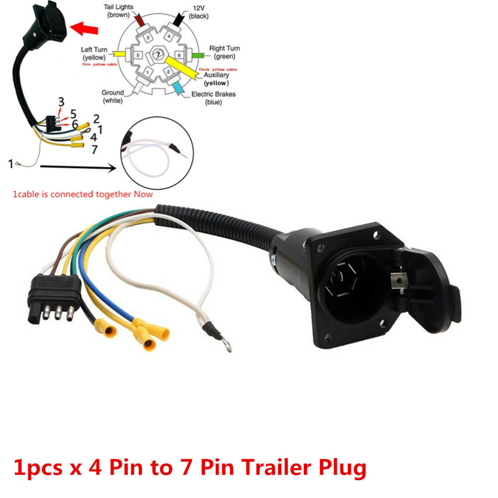 details about 4 flat to 7 way rv trailer light plug wire harness converter  adapter for truck