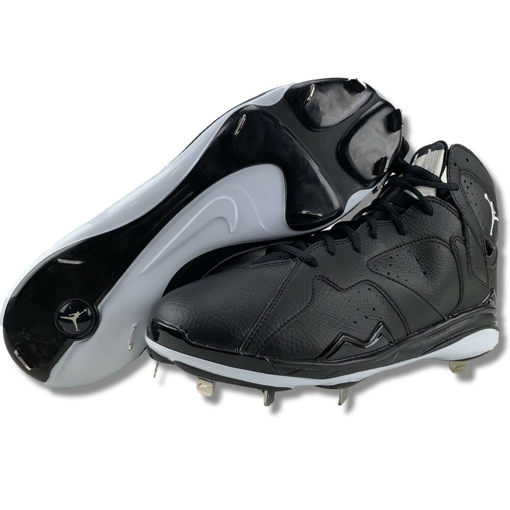 newest 85b93 20fee Details about Nike Air Jordan Retro 7 VII Mens Size 13 Metal Baseball Pro  Cleats Black White
