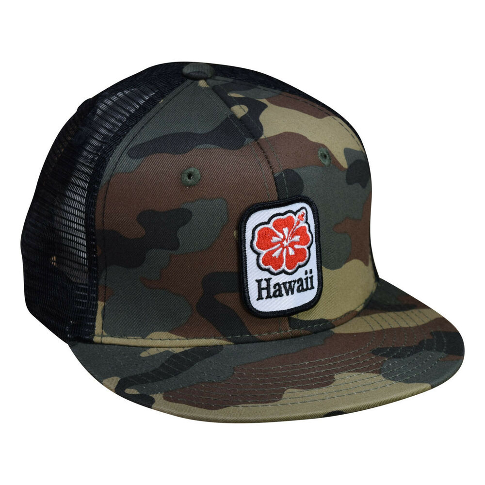 a1ccf426 Details about Hawaii Hibiscus Trucker Hat by LET'S BE IRIE - Camo and Black  Snapback
