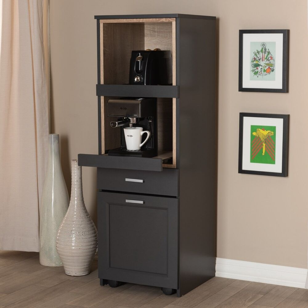 Details About Tall Narrow Kitchen Cabinet Cupboard Coffee Nook Pull Out Drawers Rolling Office