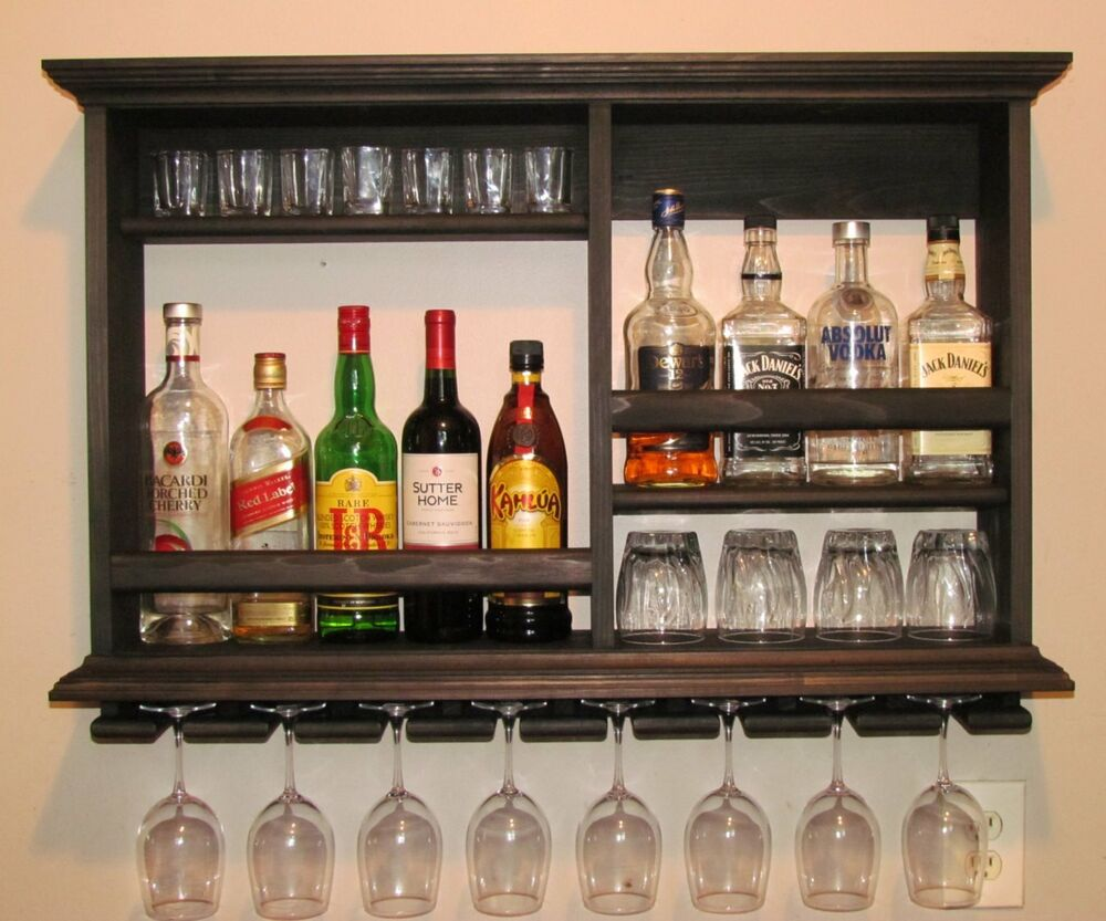 Black Floating Shelf Mini Bar Liquor Cabinet Rustic Wall