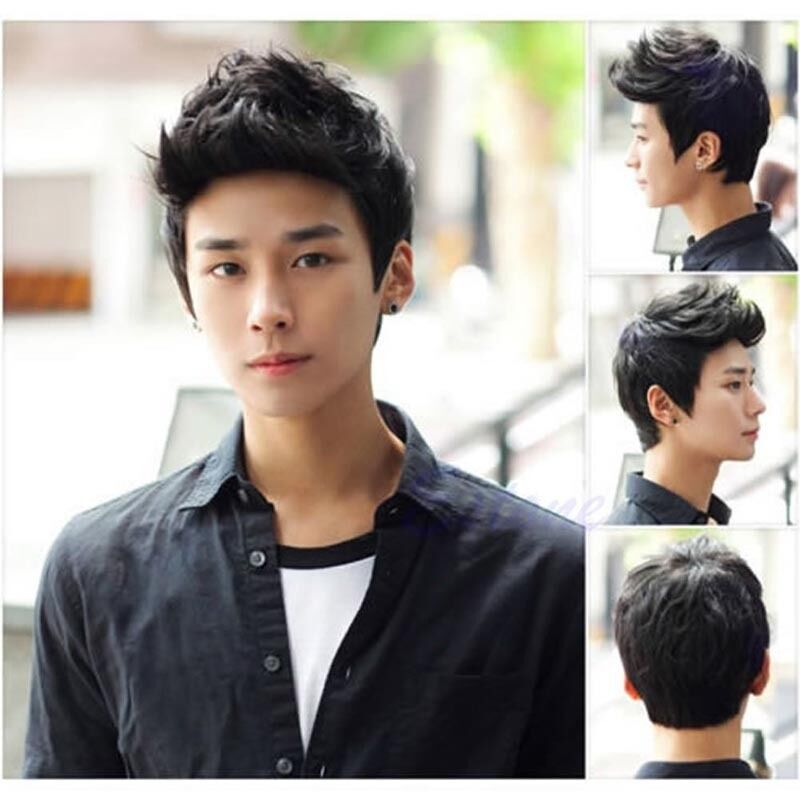 Handsome Boys Full Wig Korean Style Short Black Mens Male Hair