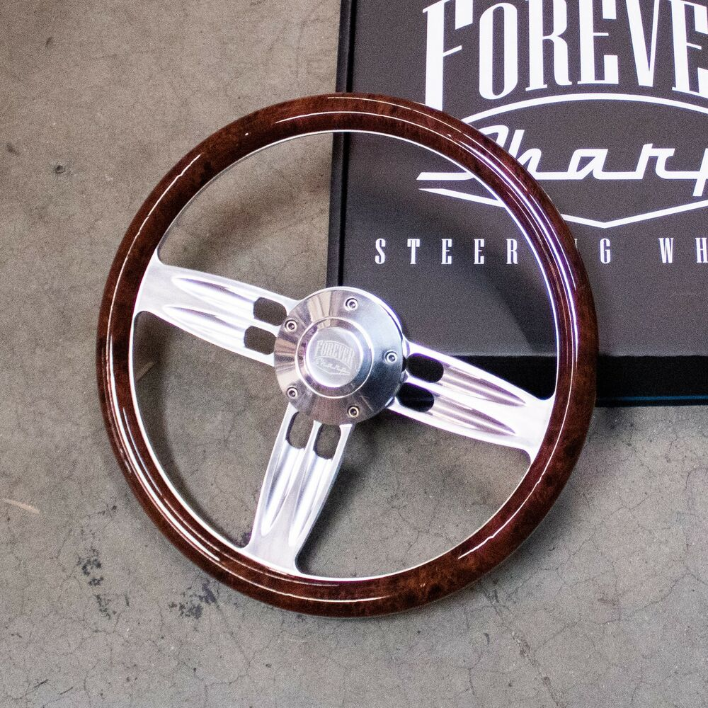 Details about 14 chrome polished burl wood wrap steering wheel forever sharp horn button