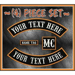 CUSTOM EMBROIDERED 4 PIECE 13'' MC ROCKER PATCH SET MOTORCYCLE BIKERS SONS USA