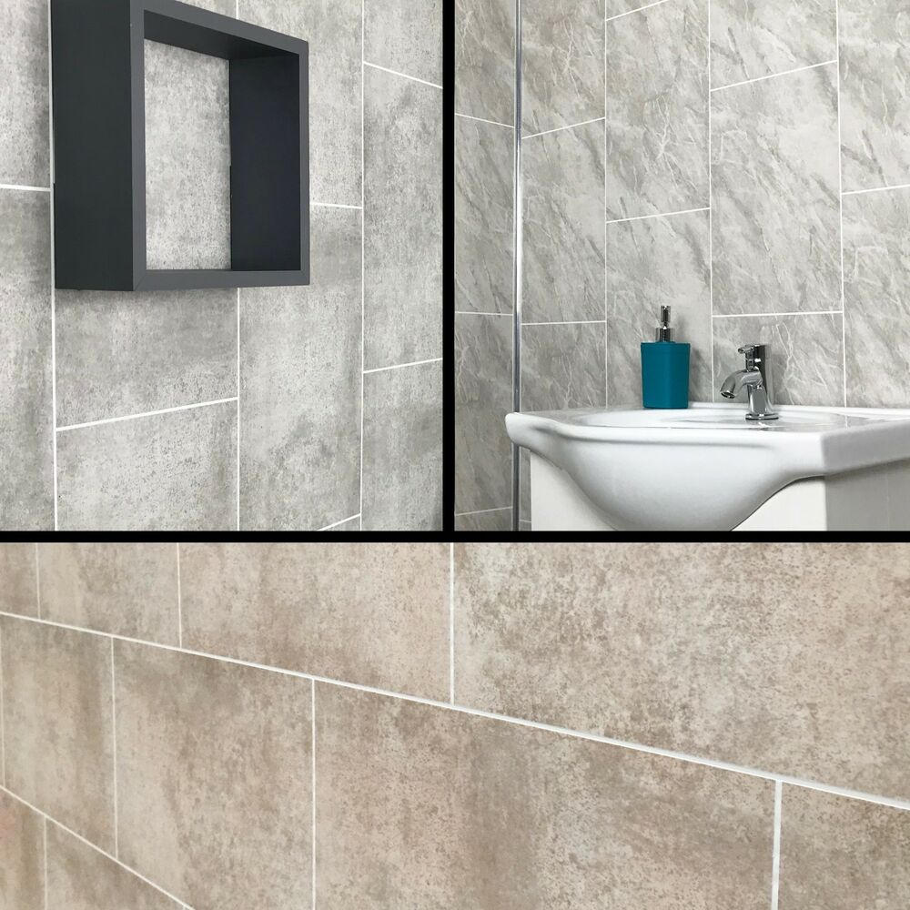 Cutline Grey Marble Tile Effect Bathroom Panels Shower Wet Wall