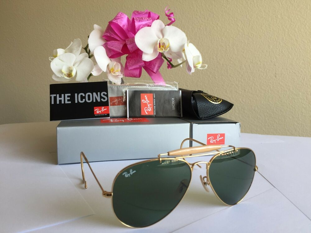 ab9ef8cccef54 New RAY BAN RB 3030 L0216 G-15 Sunglasses AVIATOR OUTDOORSMAN Gold Glass  Lens 805289602163   eBay