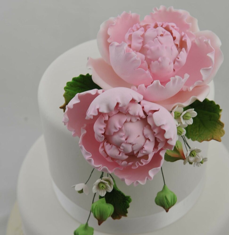 Details About Large Pink Peony Bouquet Sugar Flower Wedding Birthday Cake Decoration Topper
