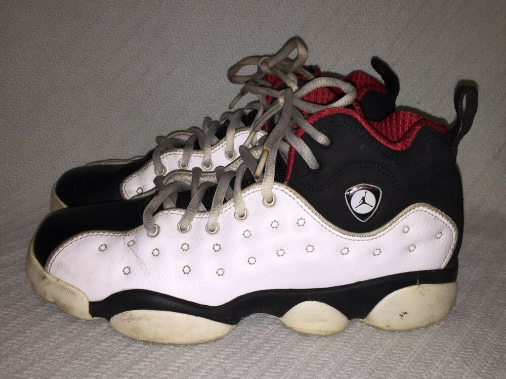online store 87854 e37a8 Details about Youth Nike JORDAN JUMPMAN TEAM II WHITE BLACK-RED Sneaker  820273-101 Size 6.5Y