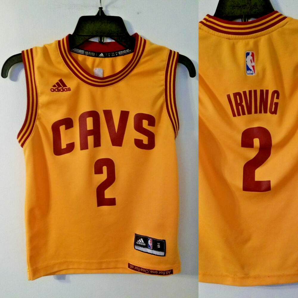 dbd25642711a Details about CLEVELAND CAVALIERS Jersey ADIDAS Youth Kids S Small YELLOW   2 KYRIE IRVING duke