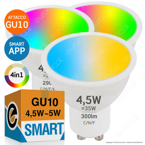 Lampadine LED Smart Wifi GU10 Faretti W+RGB Intelligenti WIreless Alexa Google •