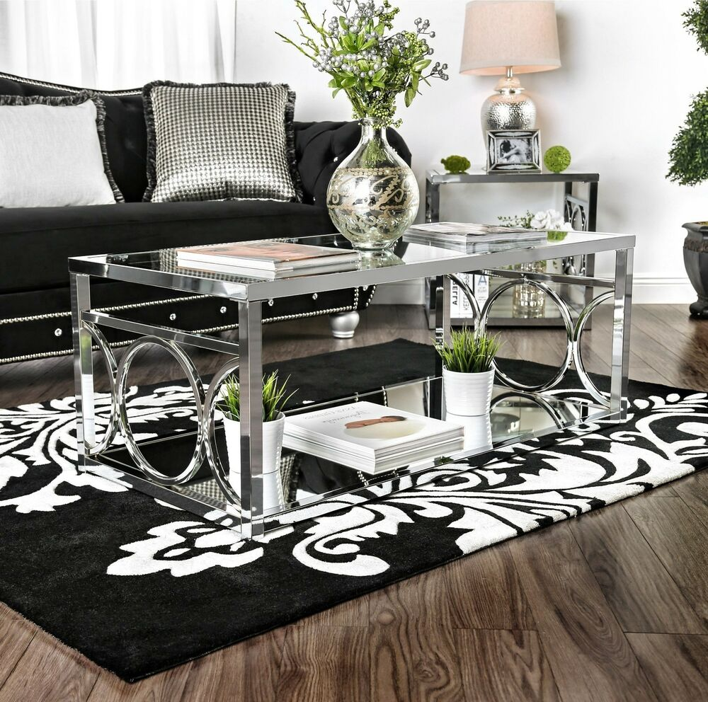 Details about glass top coffee table chrome metal frame living room furniture accent table