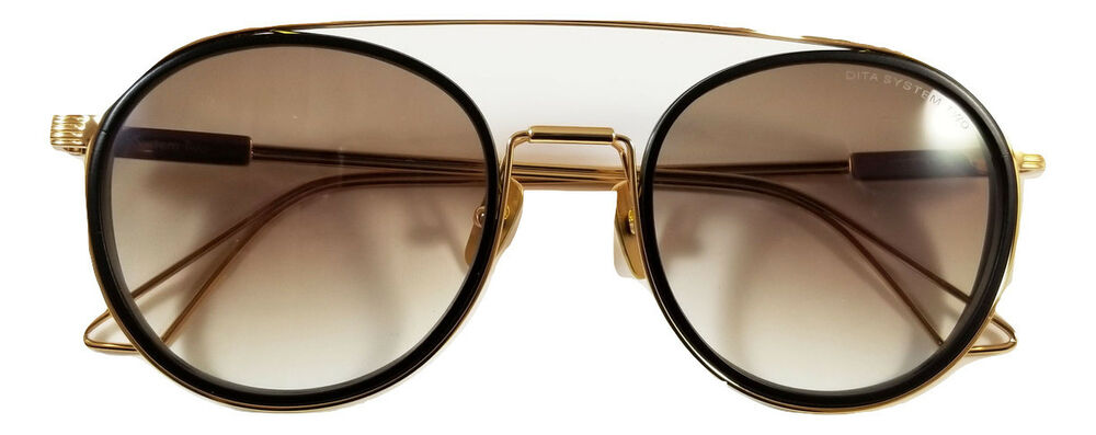 281c301f91 Dita System Two sunglasses DTS 115 02 Gold tone frame Brown gradient lens    box
