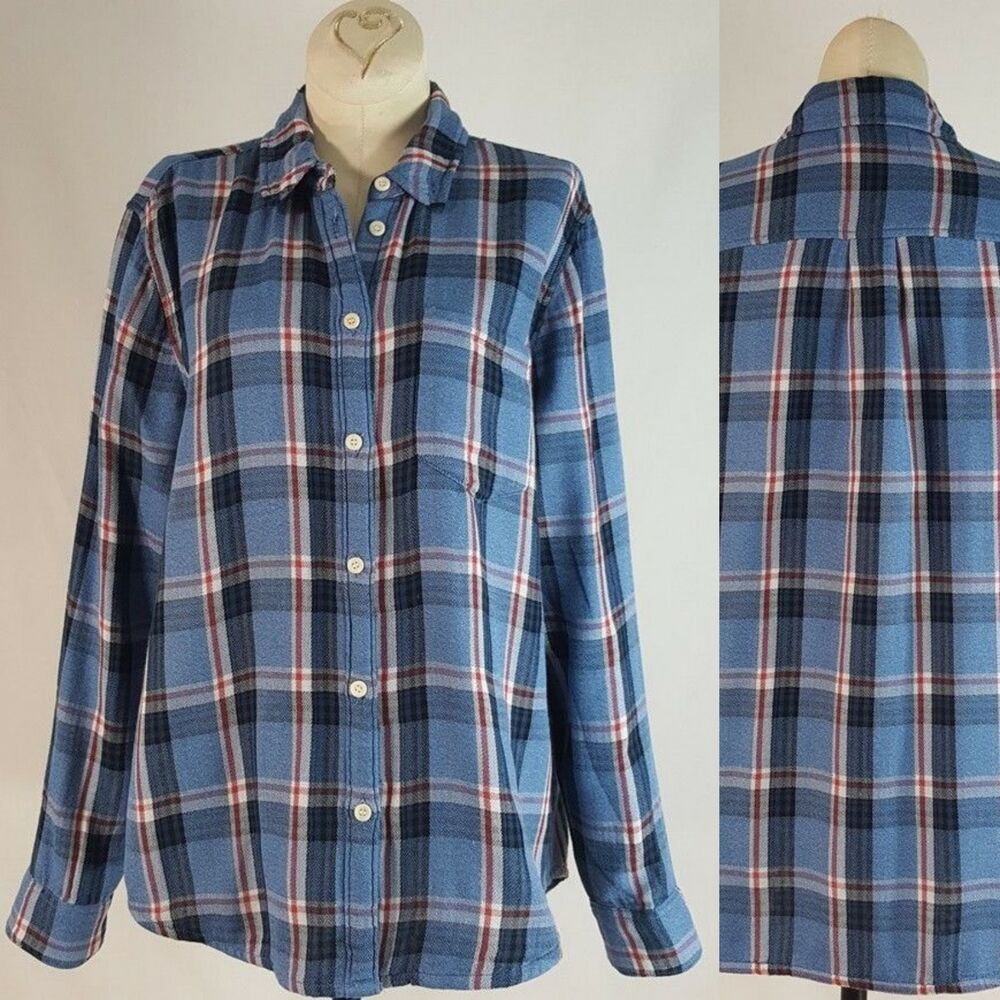 a6b140e97 Womens Blue Plaid Button Down Shirt – EDGE Engineering and ...