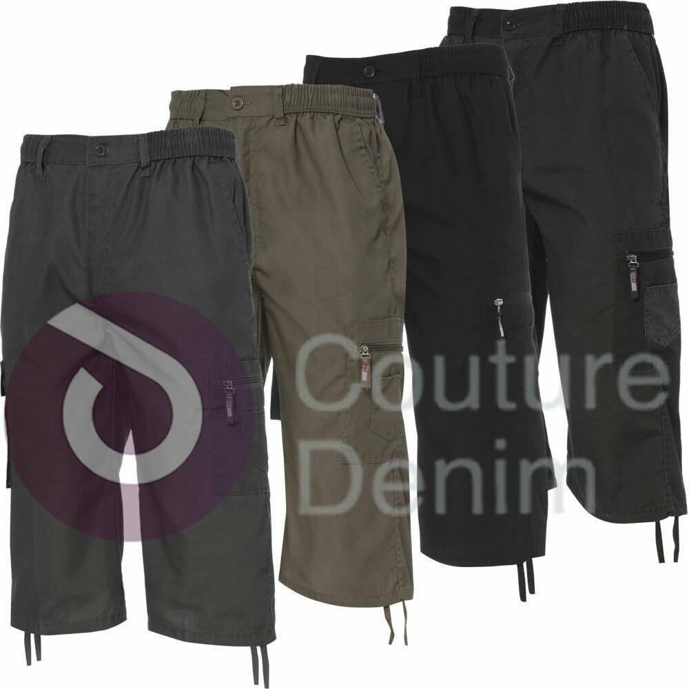 957375ade4 Details about 3/4 Combat Pocket Elasticated Waist Long Shorts Cargo Pants  Knee length Leisure