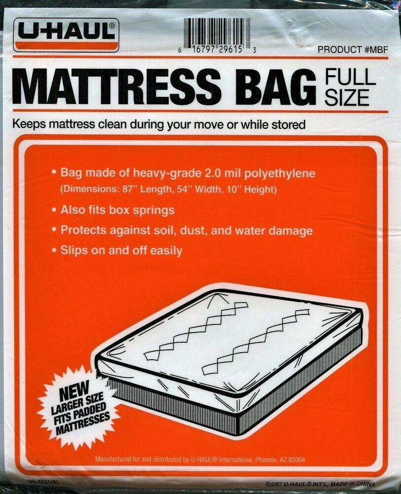 Uhaul Mattress Bag Full Size 87 L 54 W 10 H Plastic