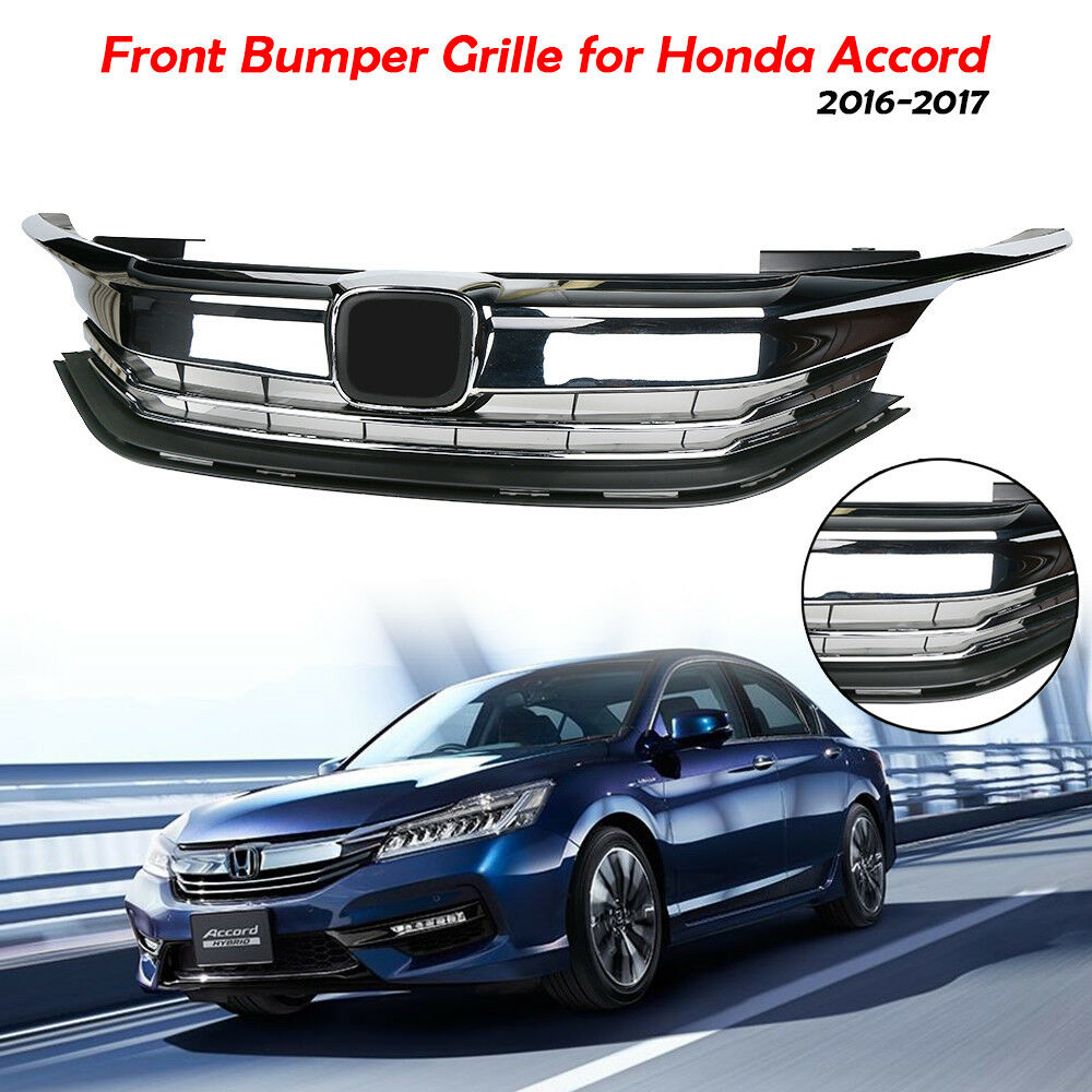 Details About For 2016 2017 Honda Accord Chrome Black Front Radiator Grille Upper Per Grill