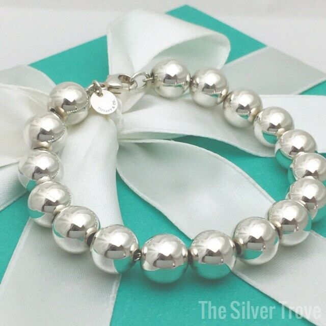 fdb189009 Details about Tiffany & Co HardWare Ball Bracelet Sterling Silver 10mm Bead