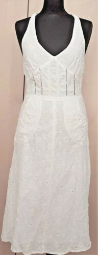 ADDA Boutique White 100% Cotton Dress Double Layer, Embroidery, Size S UK 10