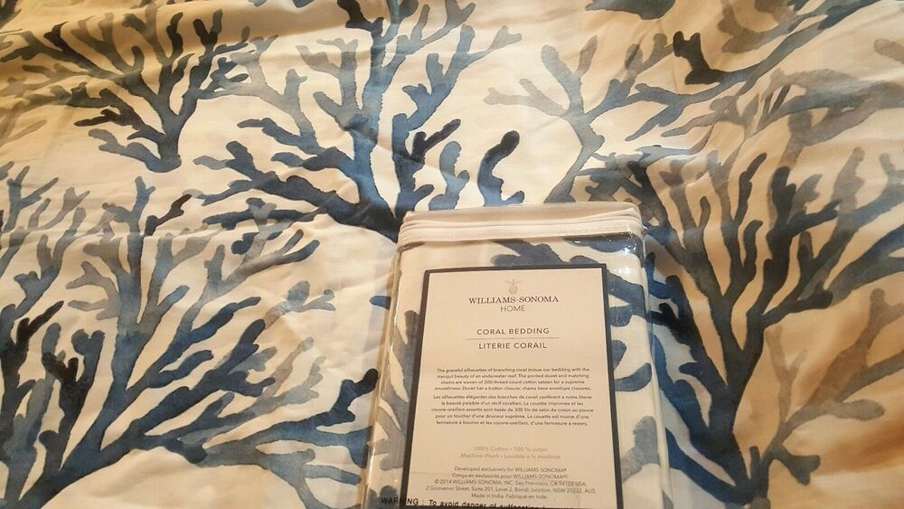 2 Williams Sonoma Home Navy Blue White Coral Bedding Collection