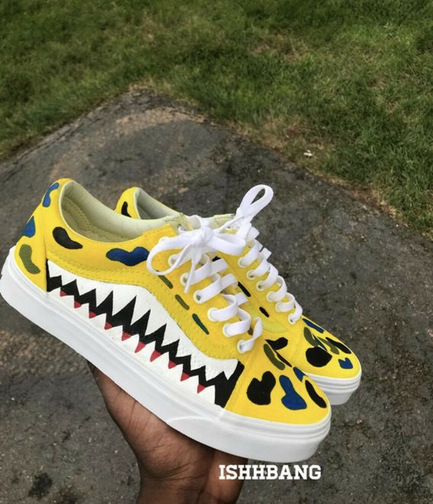 565e9dc2591be3 Custom Bape Vans Shark Teeth Customized Yellow Bape Vans