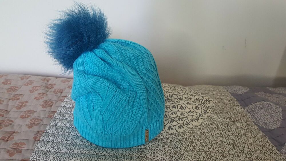Details about Fur Pom Pom Knit Slouchy Baggy Beanie Lined Teal Winter Hat  Ski Cap Skull Women 58b16259606