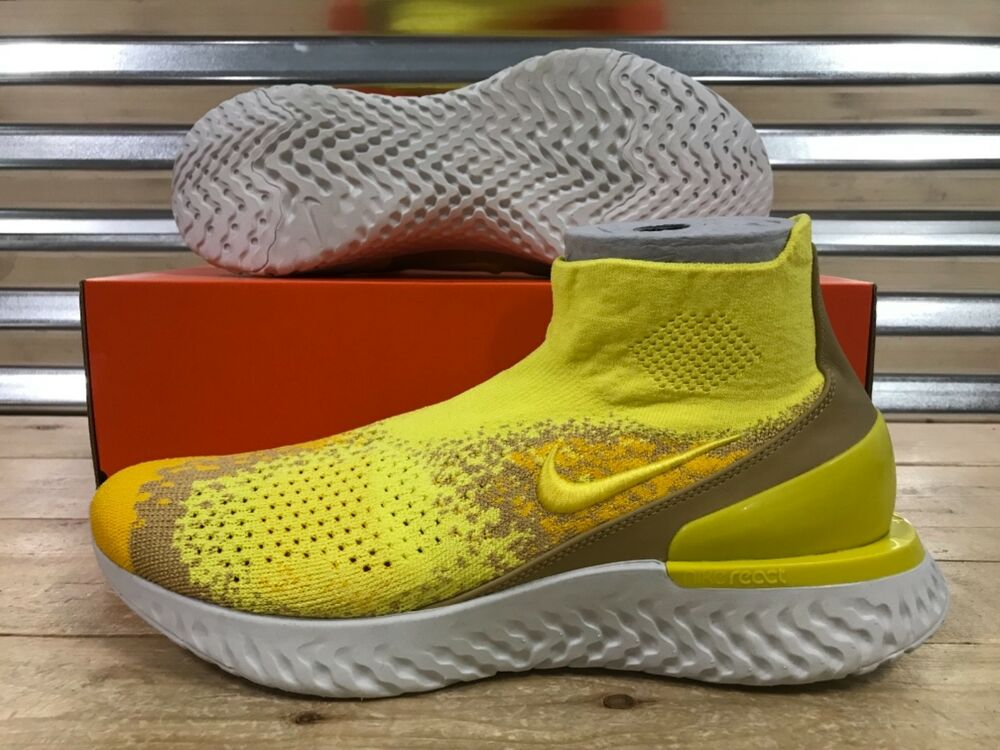 on sale 93e96 1f34c Details about Nike Rise React Flyknit Limited Running Shoes Sonic Yellow  White SZ (BQ6176-707)