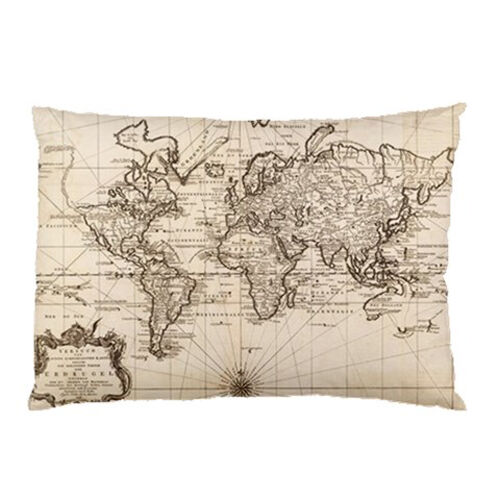Hot New Antique World Map Pillow Case 30 X 20 One Side Cover Free