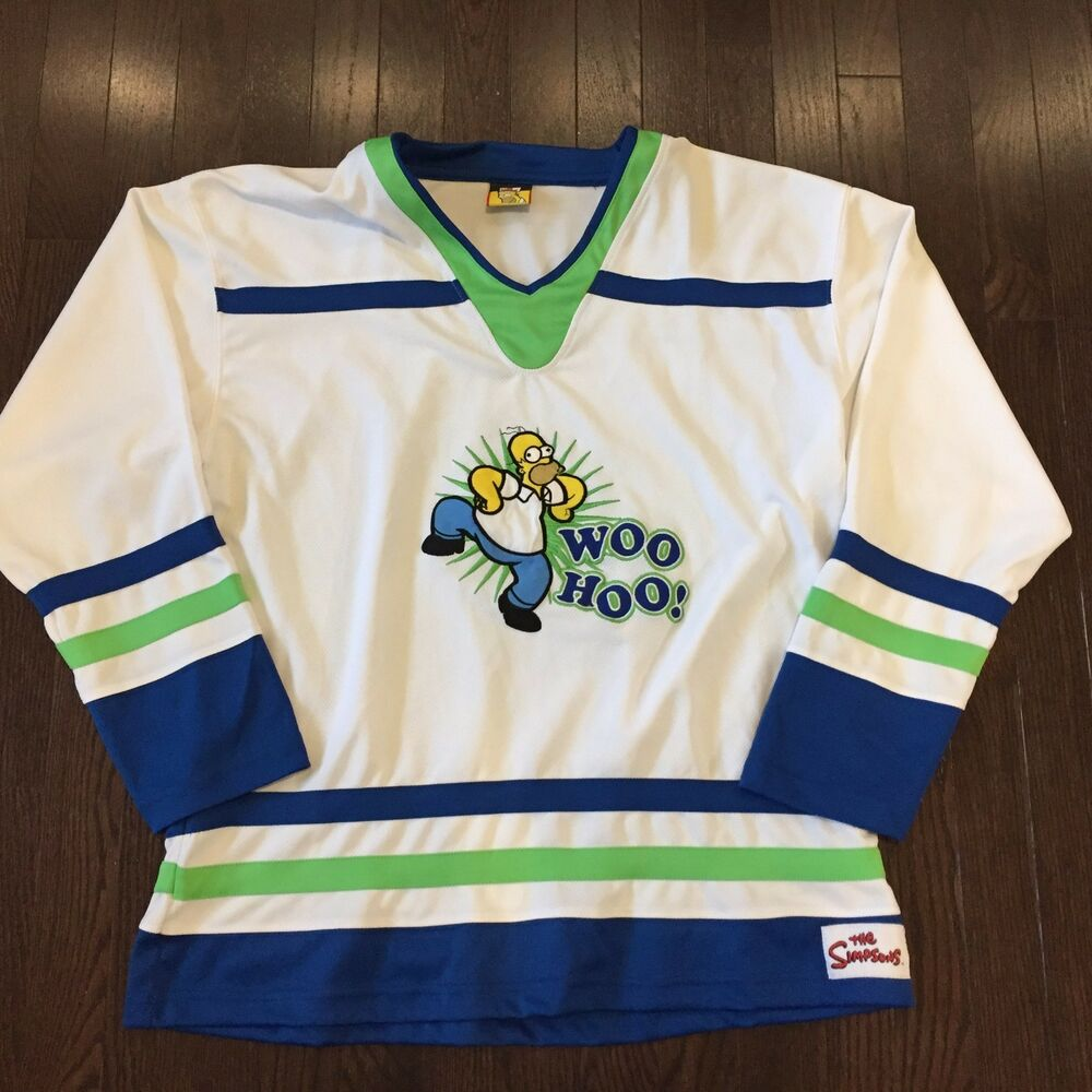Details about The Simpsons Homer Simpson Woo Hoo! Mens S M Hockey Jersey 2bcdbac3477