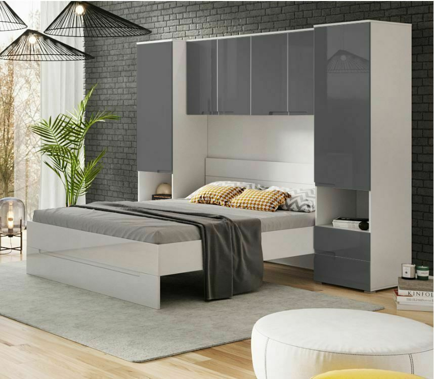 Details About Cellini Grey Gloss White Over Bed Storage Unit Wardrobe Bedroom Furniture 2935