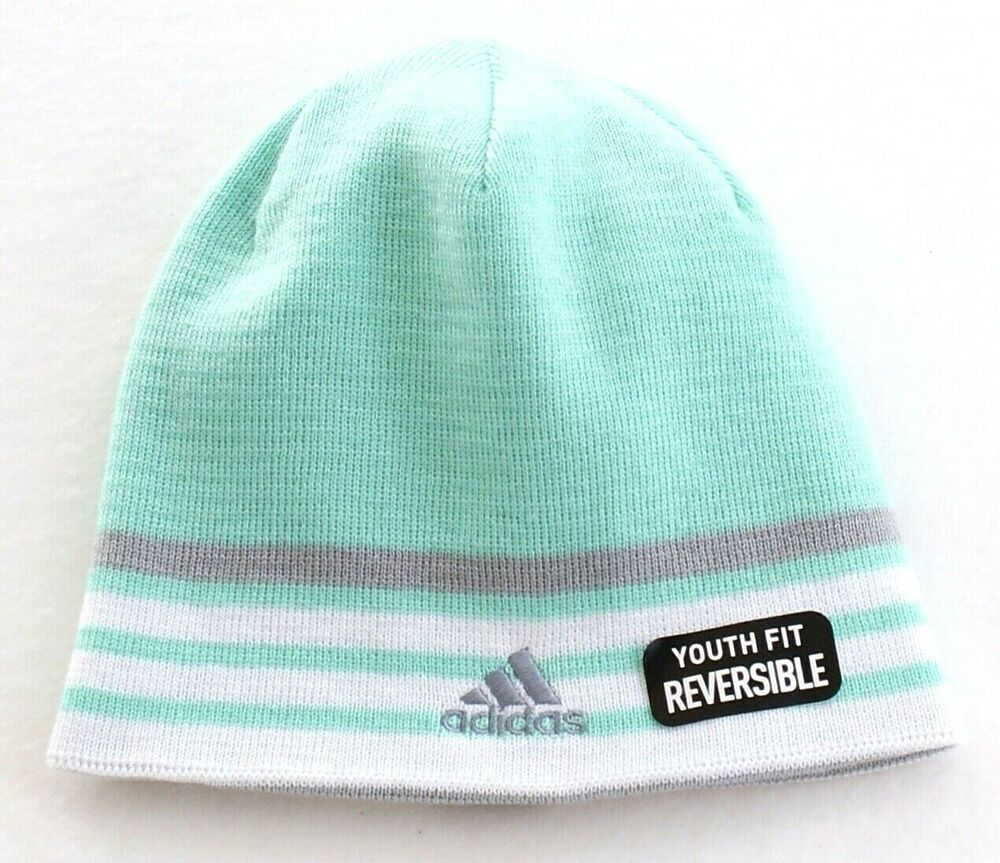 084daaa8 Details about Adidas ClimaWarm Reversible Green & Gray Beanie Youth Girl's  7-16 One Size NWT