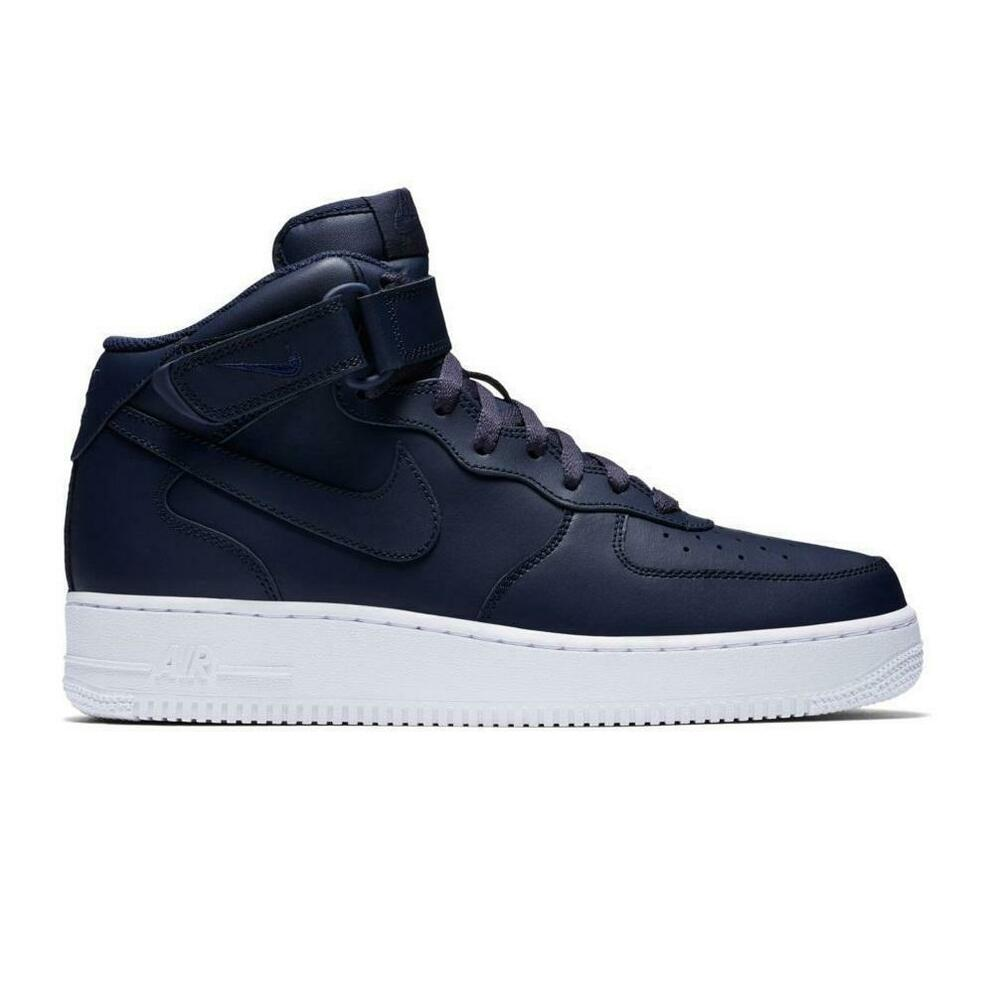 best sneakers 248b8 b9b56 Details about Mens NIKE AIR FORCE 1 MID 07 Navy Blue Trainers 315123 415