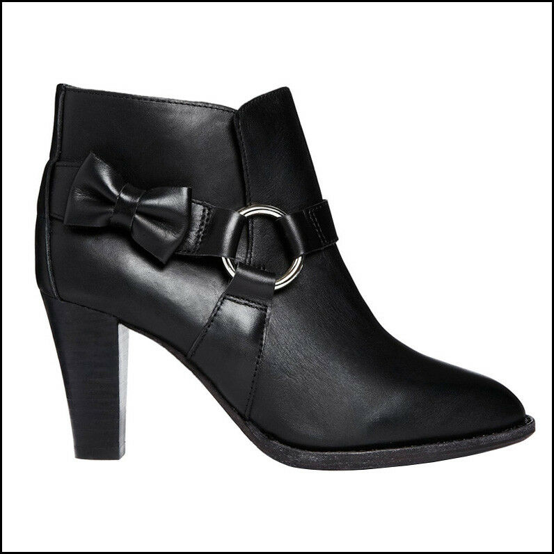 F Troupe Son London Black Leather Bow Ring Ankle Boot