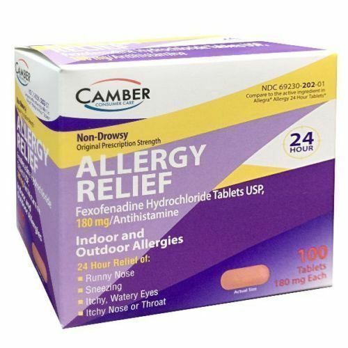 Camber Fexofenadine 180mg Allergy Relief 100ct Tablets -Expiration Date 03/2020