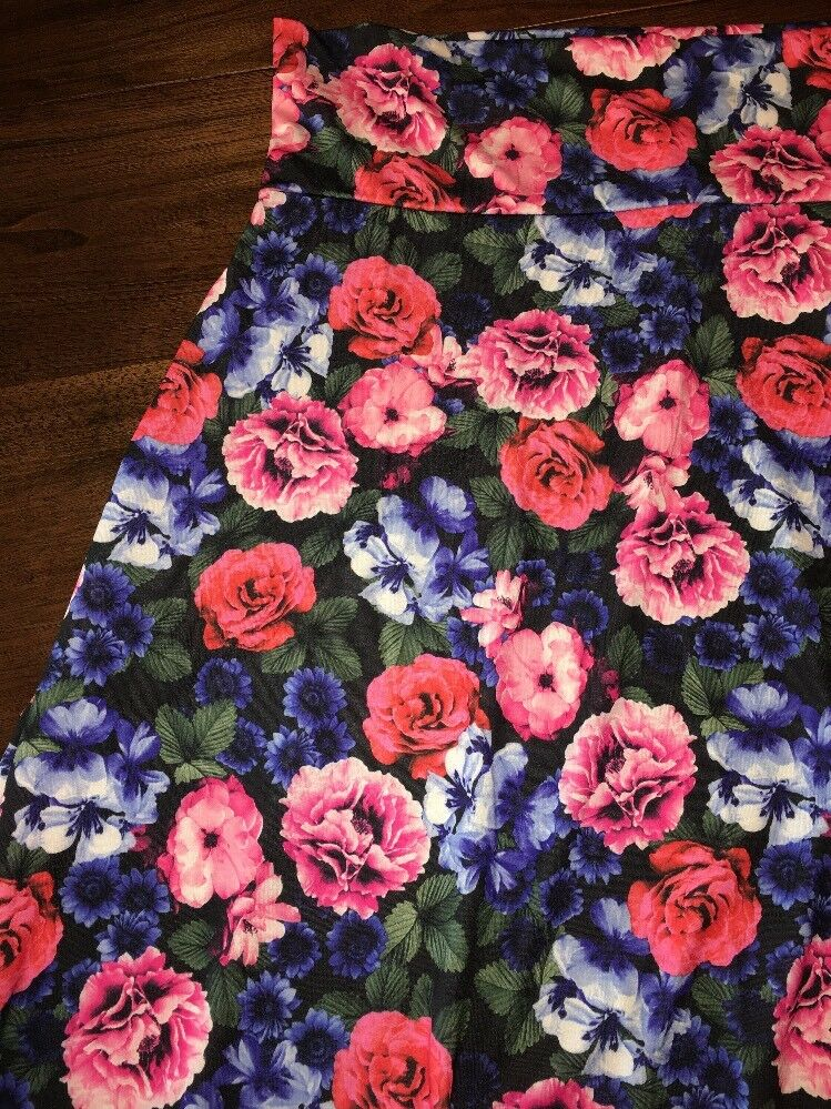 Skirts Clothing, Shoes & Accessories Small Blue Floral Blue Lularoe Azure Green Orange Yellow Gorgeous Nwt