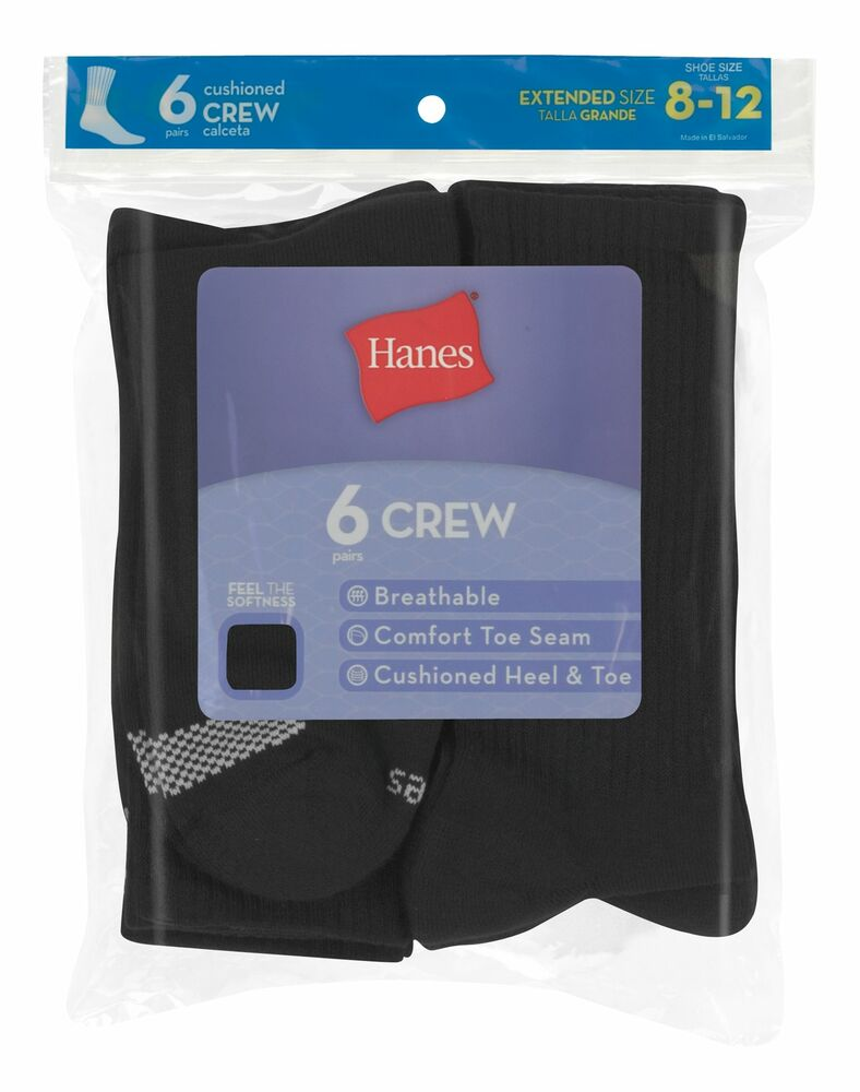 5301744697e2a Details about Hanes Women's Cool Comfort® Crew Socks Extended Sizes 8-12,  6-Pack 683V6P