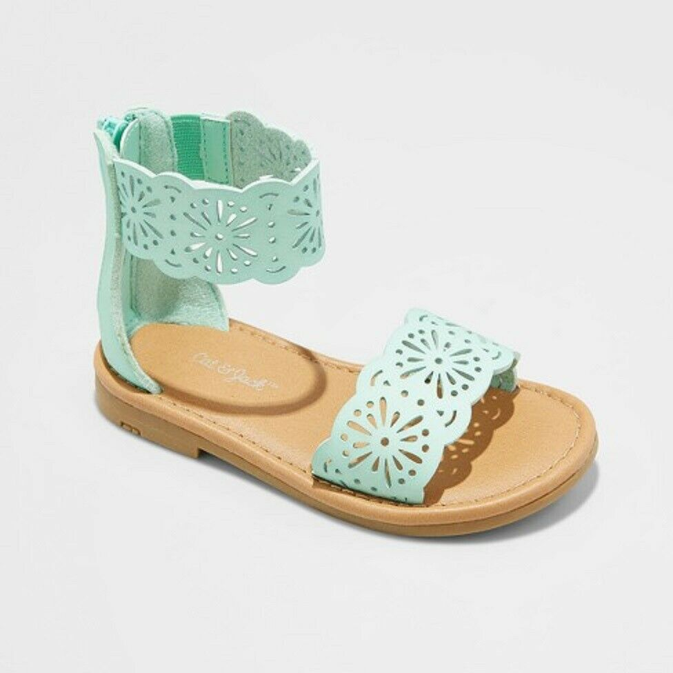 46387c8e2b6 Details about Cat   Jack By Target Dara Sandals Toddler Girls Size 10  Gladiator Mint Green NEW